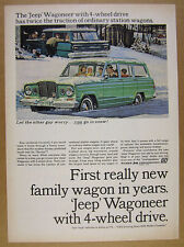 1964 Jeep Wagoneer green truck snow illustration art vintage print Ad