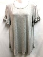 Bobeau Womens Short Sleeved Rounded Neck Fine T Shirt Knit Top L Gray New
