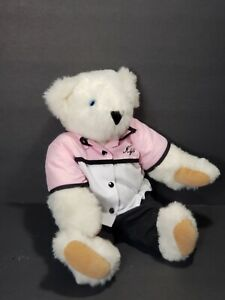 "Vermont Teddy Bear 16"" White Plush Blue Eyes Pink Black Clothing Stuffed Animal"