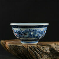 Chinese Qianlong marked old antique Porcelain blue white double dragon bowl