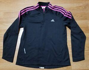 Adidas Womens 1/4 Zip Quarter Zip Black/Pink Size Medium Pullover Jacket