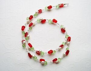 Collier rote Tulpen mit Zuchtperlen