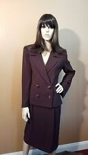 Heiser Egan Designer 3 Piece Suit Brown Blazer Pants Trousers & Skirt, US 8