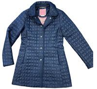KATE SPADE New York XS Quilted Snap Front Coat Jacket Navy Blue NWT Extra Small