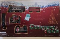 CHRISTMAS TOY TRAIN 49 Pieces  ENGINE SET TRACK STATION & TREES ROUND W SANTA