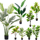 Large Fake Palm Tree Tropical Artificial Faux Green Plants in Pot Outdoor Indoor