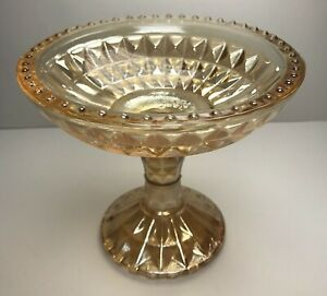Peach Irridescent Luster Carnival Glass Compote Pedestal Footed Candy Nut Dish