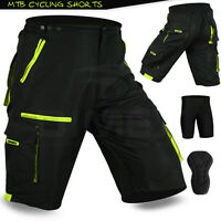 MTB Cycling Short Off Road Cycle CoolMax Padded Liner Shorts Black/Green M L XL