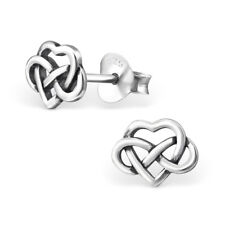 925 Sterling Silver Celtic Heart Infinity Knot Kids Girls Stud Earrings 7 x 6 mm