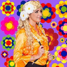 A214✪ 70er Jahre Hippie Flower-Power 2er Set Margeriten Haarspangen Clips