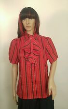 Vintage Ship 'n Shore Womens Blouse Size 12 Red Black Stripes Ruffled Front