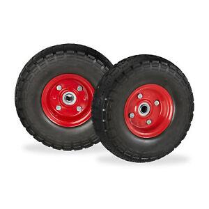 2 x Sackkarrenrad Vollgummi 4.1/3.5-4 Bollerwagenrad Ersatzreifen schwarz-rot