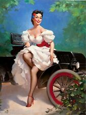 1940s Pin-Up Girl Sunday Drive Picture Poster Print Art Pin Up