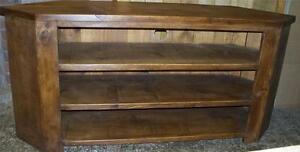 SOLID WOOD CORNER TV CABINET ENTERTAINMENT STAND UNIT rustic plank pine furnitur