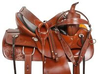 USED 15 BROWN TOOLED LEATHER WESTERN PLEASURE TRAIL SADDLE HORSE TACK