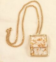 Tara Lucite Confetti Pendant Necklace Convertible Brooch Pin Vintage Goldtone NR