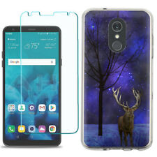 TPU Phone Case for LG Stylo 5 w/ Tempered Glass - Midnight Deer