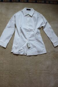 Piazza Sempione ladies shirt made in Italy NWT size 8 white 3/4 sleeve 470.00