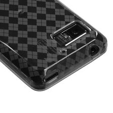 For Verizon Motorola Droid Bionic TPU Candy FLEXI Skin Case Cover Smoke Plaid