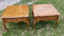 PAIR OF DREXEL HERITAGE Cabernet Country French Side End Lamp Tables W/ Drawer
