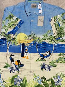 Disney Parks Tommy Bahama Blue Mickey & Friends Hawaiian Camp Shirt Size XL