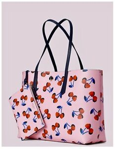 Original Packaging NWT Kate Spade MOLLY Pink W/ Cherries Large Tote W/Pouch