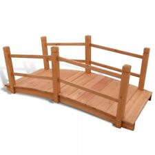 5' Wooden Bridge Stained Finish Decorative Solid Wood Pond Garden Arch Walkway