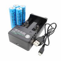 4X Li-ion 18650 Battery 3800mAh 3.7V Low Drain Rechargeable+2 Slots USB Charger