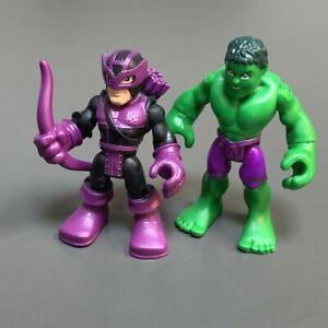 Lot 2 HULK & MARVEL'S HAWKEYE Playskool Marvel Super Hero Adventures Figure  #8