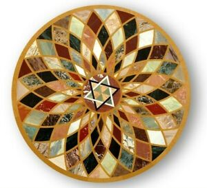 "24"" Marble table top handmade inlay semi precious stones work table"