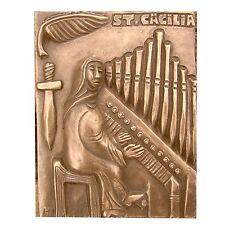 Bronze Relief Cäcilia Orgelspielerin 17,5 cm Cecilia organist