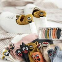 1Pair Cartoon Embroidered Expression Women Casual Cotton Socks Funny Ankle Socks