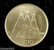 San Marino Coin 200 Lire 1987 UNC, 15th Anniversary - Resumption of Coinage