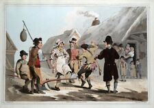 FOOL PLOUGH, PLOUGH MONDAY, COSTUME OF YORKSHIRE Walker antique print 1814