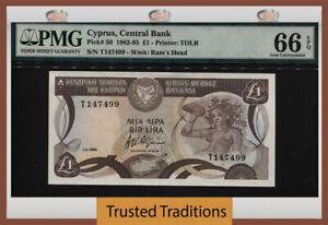 TT PK 50 1982 CYPRUS CENTRAL BANK 1 POUND RAM'S HEAD PMG 66 EPQ GEM UNCIRCULATED