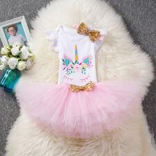 Baby Girl First 1st Birthday Unicorn Party Dress Outfits Tutu Skirt Headband UK