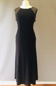 Black Gold Dress 18 Embellished Sequin Petite EVENING PARTY Cruise Wedding  N13