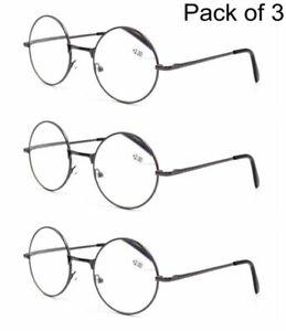 3pack Round Reading Glasses Metal Grey Reader 1.0 1.5 2.0 2.5 3.0 3.5 4.0 DFA129