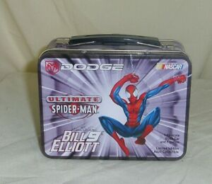 Bill Elliott 1/64 NASCAR Action diecast 2001 car in mini Spiderman Lunch Box