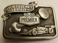 INDIANAPOLIS  PREMIER BRASS BELT BUCKLE VINTAGE 35 YEARS AT INDY