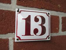 Hausnummer Emaille bordeaux  Nr. 13  weißer Hintergrund 12 cm x 10 cm Neu