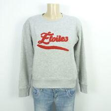 H&M Sweatshirt Pullover Sweater Grau Rot Etoiles Gr. 34 XS