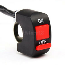 "Motorcycle Headlight Light Switch For 7/8"" Handlebar ON/OFF Red Button Connector"