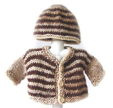 New Kss Handmade Beige/Brown Baby Sweater/Cardigan with a Hat (3 Months) Sw-446