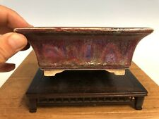 Stunning Shohin Size Purple Glazed Bonsai Tree Pot Fugushige Bushuan 5 1/2�