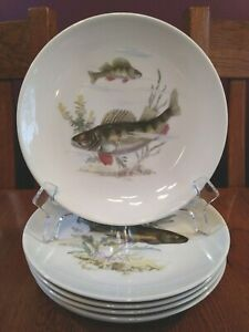 6 Beautiful Vintage Kahla GDR Fish Salad Plates German Democratic Republic
