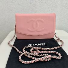 CHANEL Pink Caviar Leather Timeless CC Wallet On Chain WOC Purse Bag