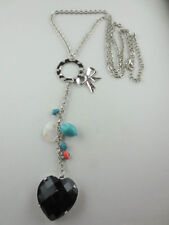Dangling Silvertone Mother of Pearl/Beads Black Rhinestone Heart Lariat Necklace