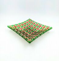 """10"""" Square Green Pink Woven Strips Art Glass Centerpiece Display Fruit Dish Bowl"""