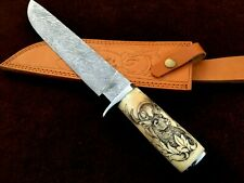 custom hand made damascus steel hunting knife with Scrimshaw lot of 1(AMNA JAN)